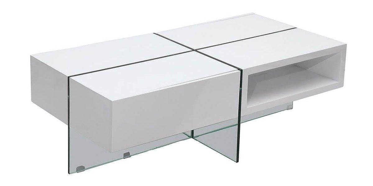 Table basse laquée JADE – Médium – Blanc