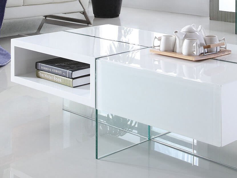 Table basse laquée JADE – Médium – Blanc